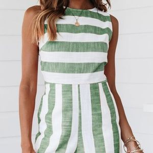 Pants - Green and White Striped Romper, Size Medium